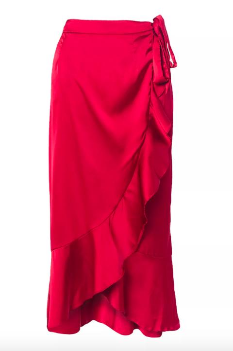 Clothing, Red, Magenta, Fashion, Waist, Pencil skirt, Textile, Shorts, Sarong, Satin,