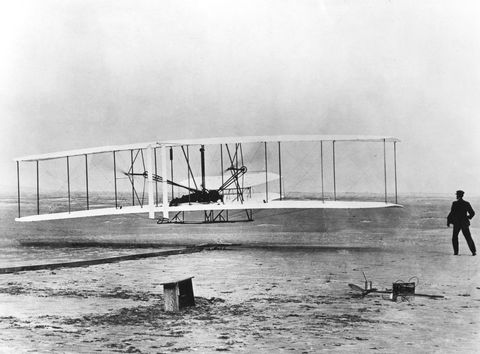Wilbur and Orville Wright and the first powered flight, North Carolina, December 17 1903.