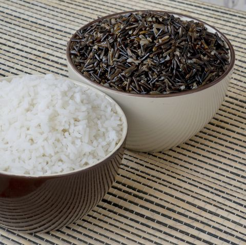 wild and white rice in two bowls