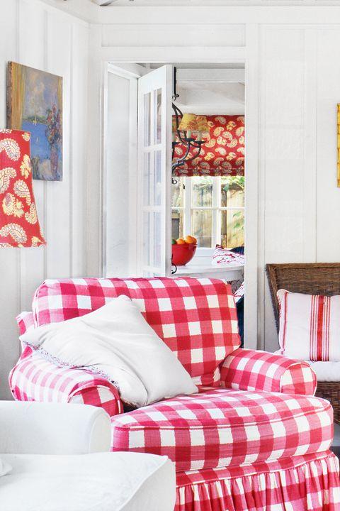 Room, Furniture, Red, Interior design, Property, Living room, Bedroom, Home, Pink, Orange,