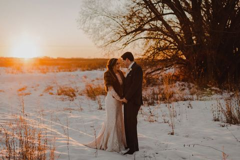 People in nature, Photograph, Winter, Snow, Romance, Dress, Sky, Photography, Love, Tree,
