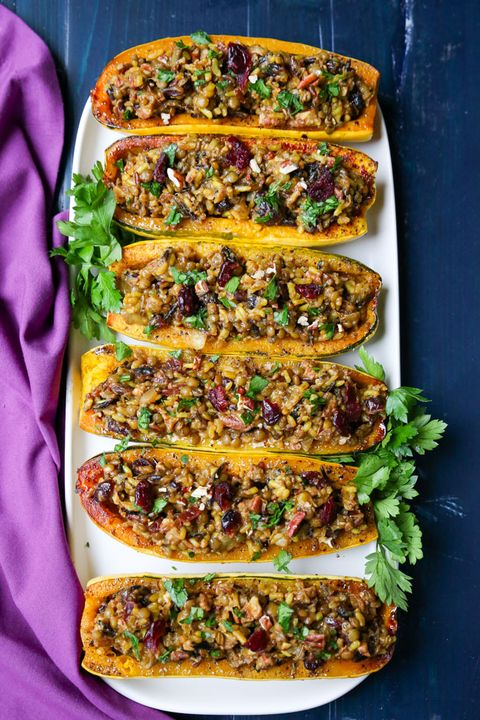delicata squash recipes stuffed wild rice and lentil
