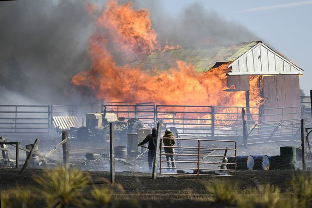 kiowa, co   march 4  two men can do nothing to save their barn as it is fully involved with fire after a fast moving wildfire spread quickly through dry grasslands on march 4, 2018 in kiowa, colorado    photo by helen h richardsonthe denver post via getty images