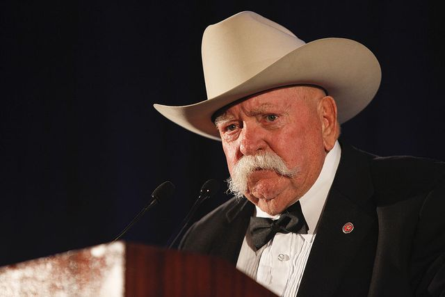 universal city, ca   september 24  actor wilford brimley speaks on stage at the 50th anniversary stuntmens gala honoring harrison ford on september 24, 2011 in universal city, california  photo by imeh akpanudosengetty images