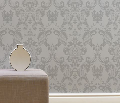 Wilko Best Damask Silver Wallpaper - Wilko