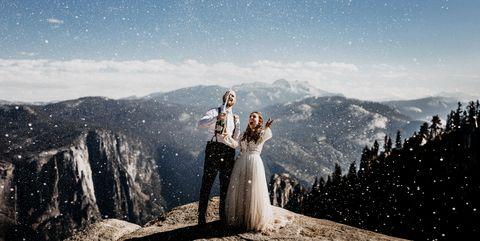 Sky, Photograph, Mountain, Mountainous landforms, Cloud, Tree, Bride, Summit, Mountain range, Atmosphere,