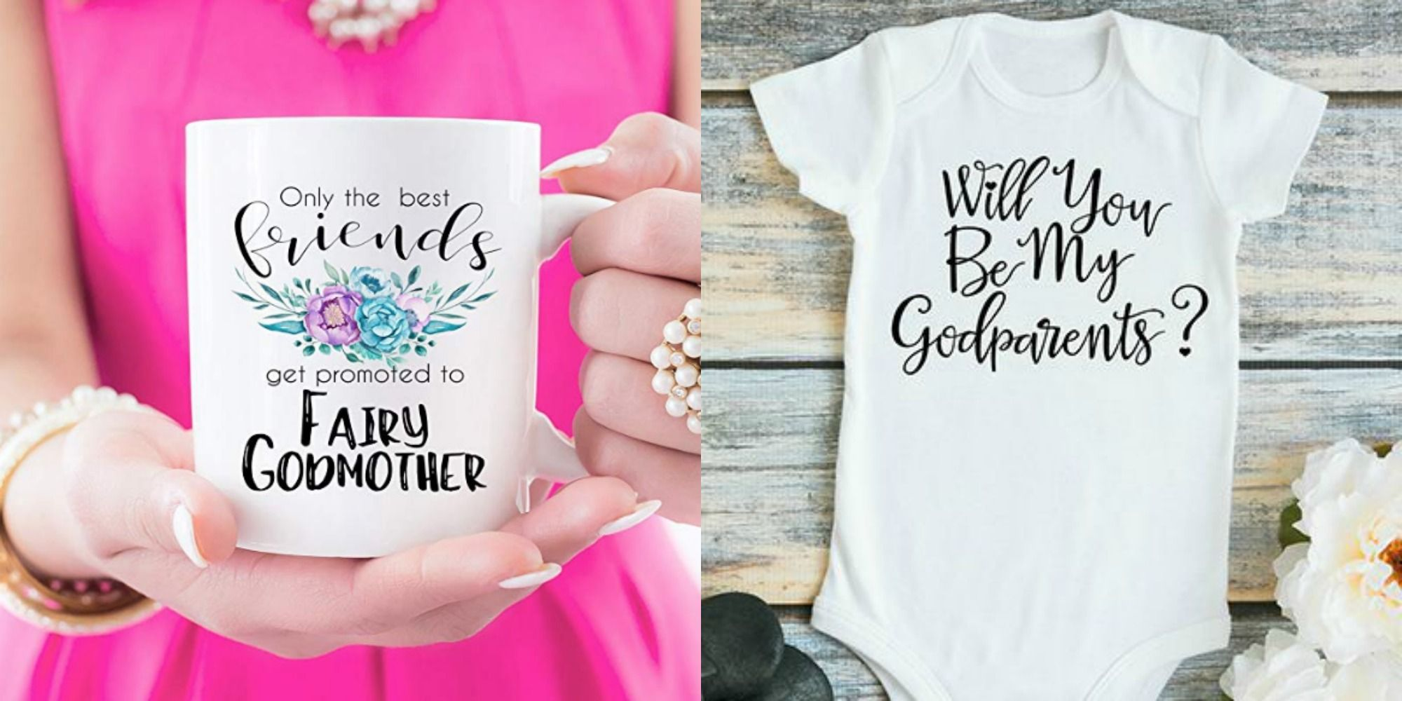 Will You Be My Godmother Embroidered Baby T-Shirt Gift Personalised Godparent