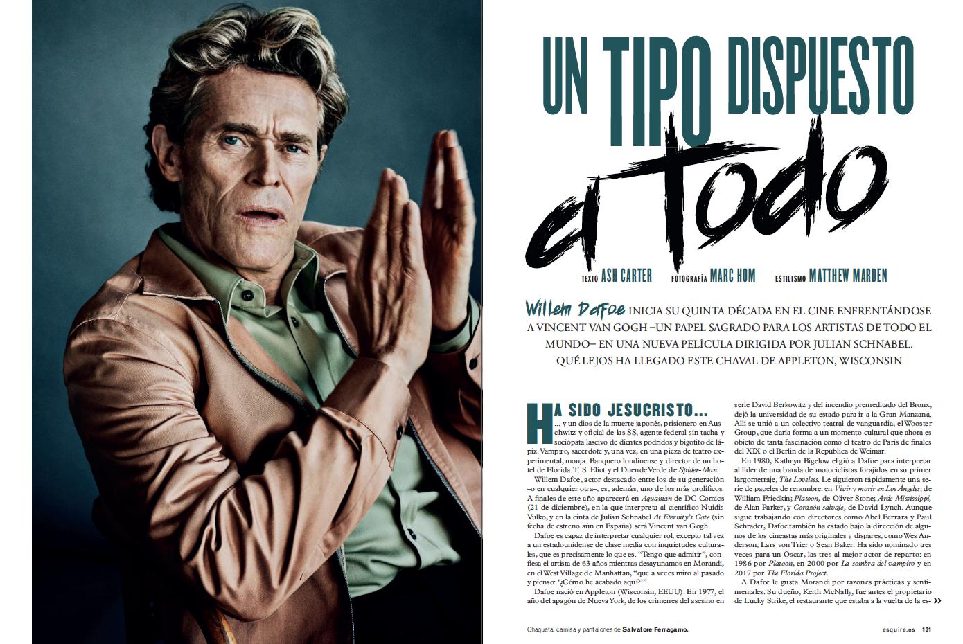 Willem Dafoe Esquire diciembre