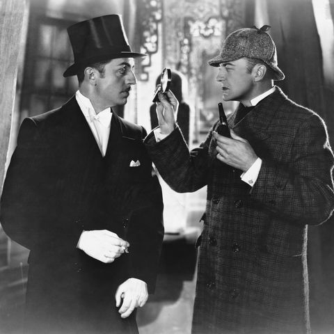 william powell and john barrymore in the silent film sherlock holmes 1922