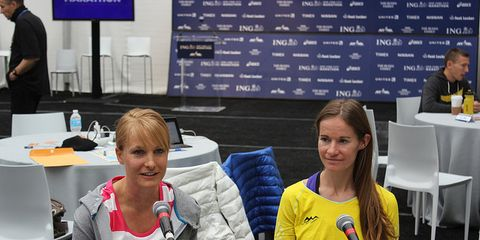 Alisha Williams and Mattie Suver before the 2013 New York City Marathon