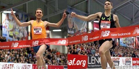 Nick Willis and Matthew Centrowitz winning at New Balance Indoor Grand Prix