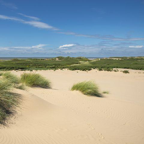 Windblown sand dunes on the Sefton coast