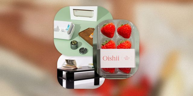 cubbi weed bento box, oishii strawberries, and russet coffee table
