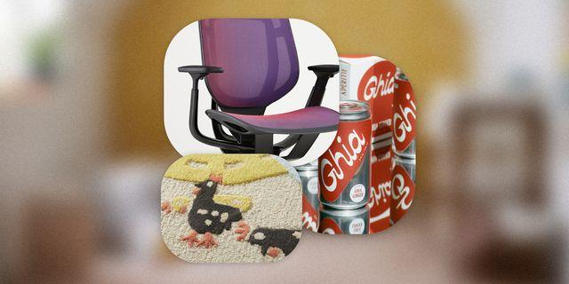 window shopping chair, ghia drink, rug detail