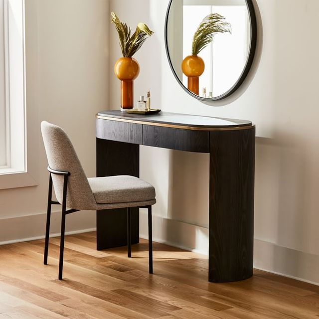 west elm bower console table with chair