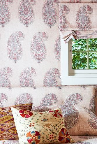 light pink paisley bedroom