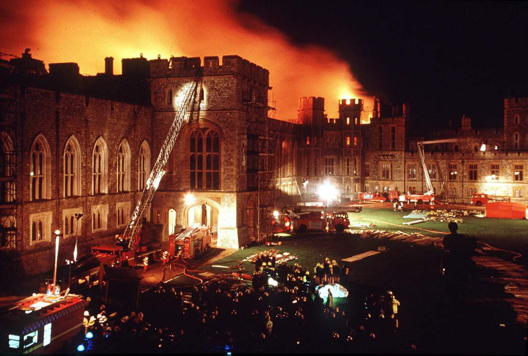 The 1992 fire at Windsor Castle.