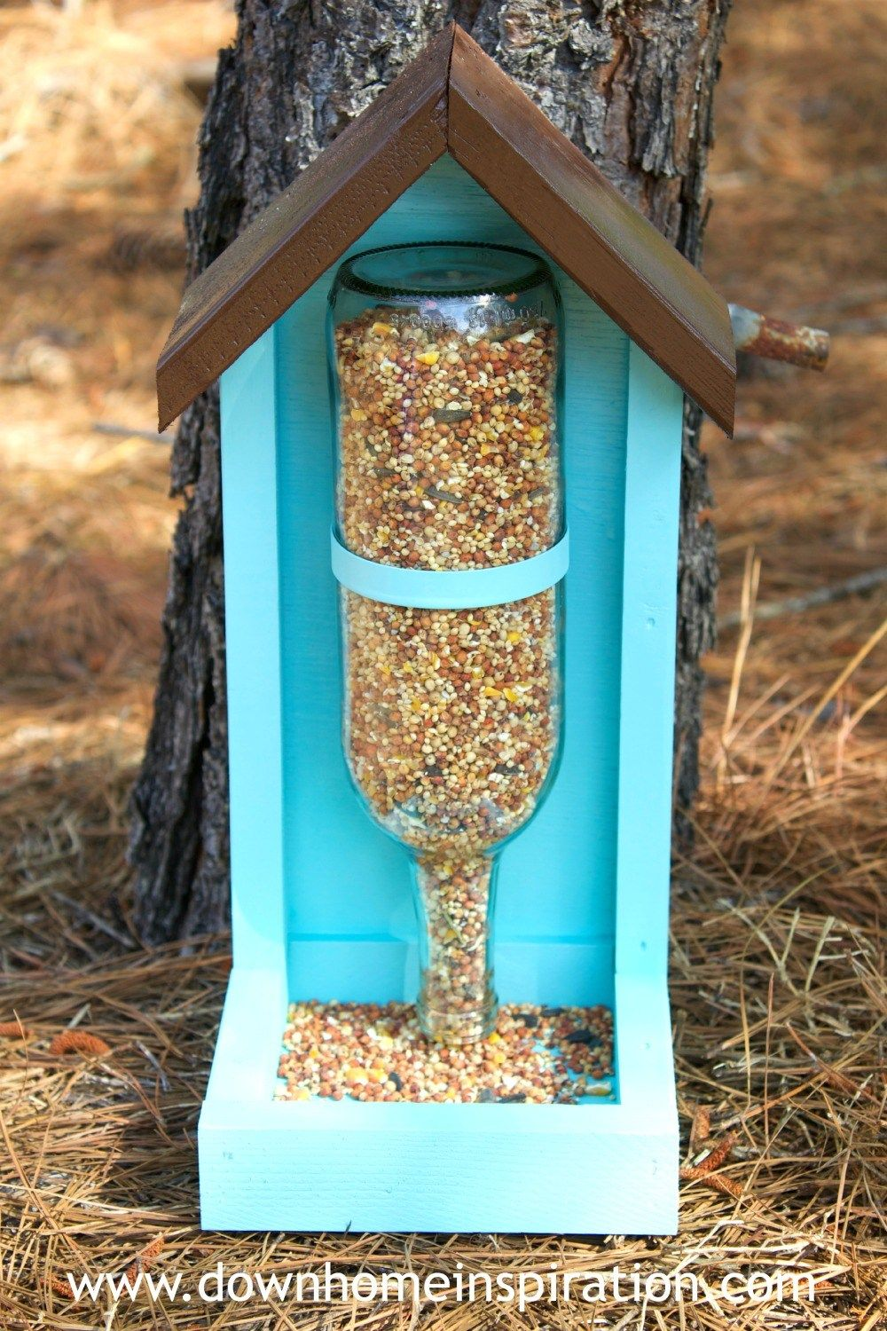 wine bottle crafts bird feeder