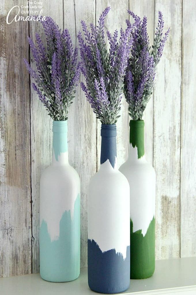 wine bottle crafts painted