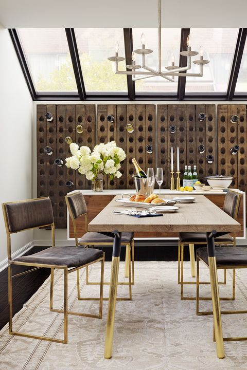 dining room with wine storage wall