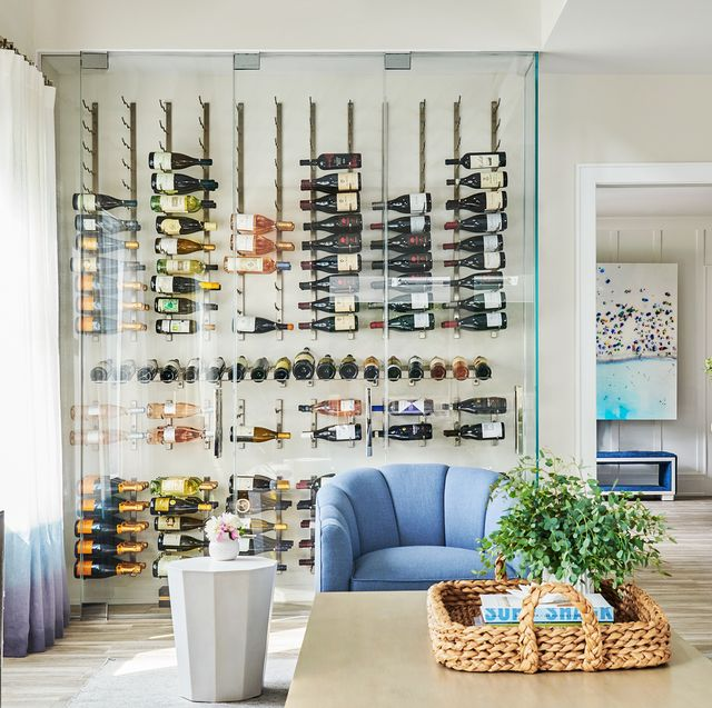 living room with glass wine cellar
