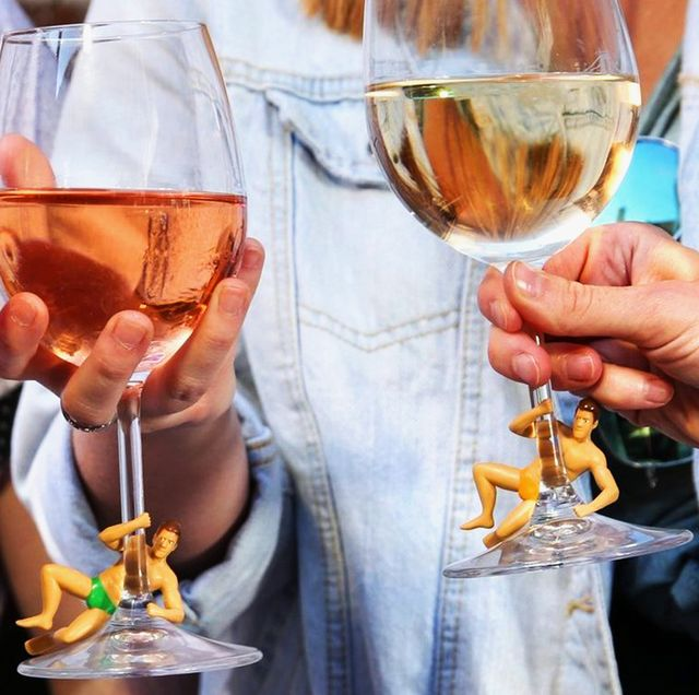 drinking buddies wine charms on rose and white wine glasses