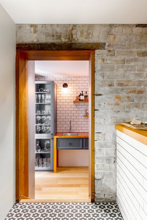 modern and rustic residential wine cellar