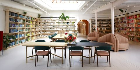 Building, Interior design, Library, Furniture, Room, Shelf, Shelving, Public library, Ceiling, Architecture,