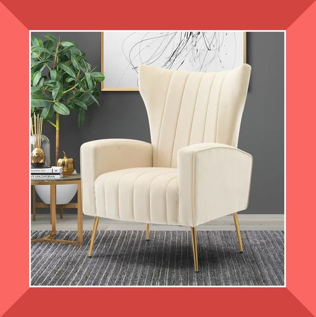 heathered and velvet wingback chairs