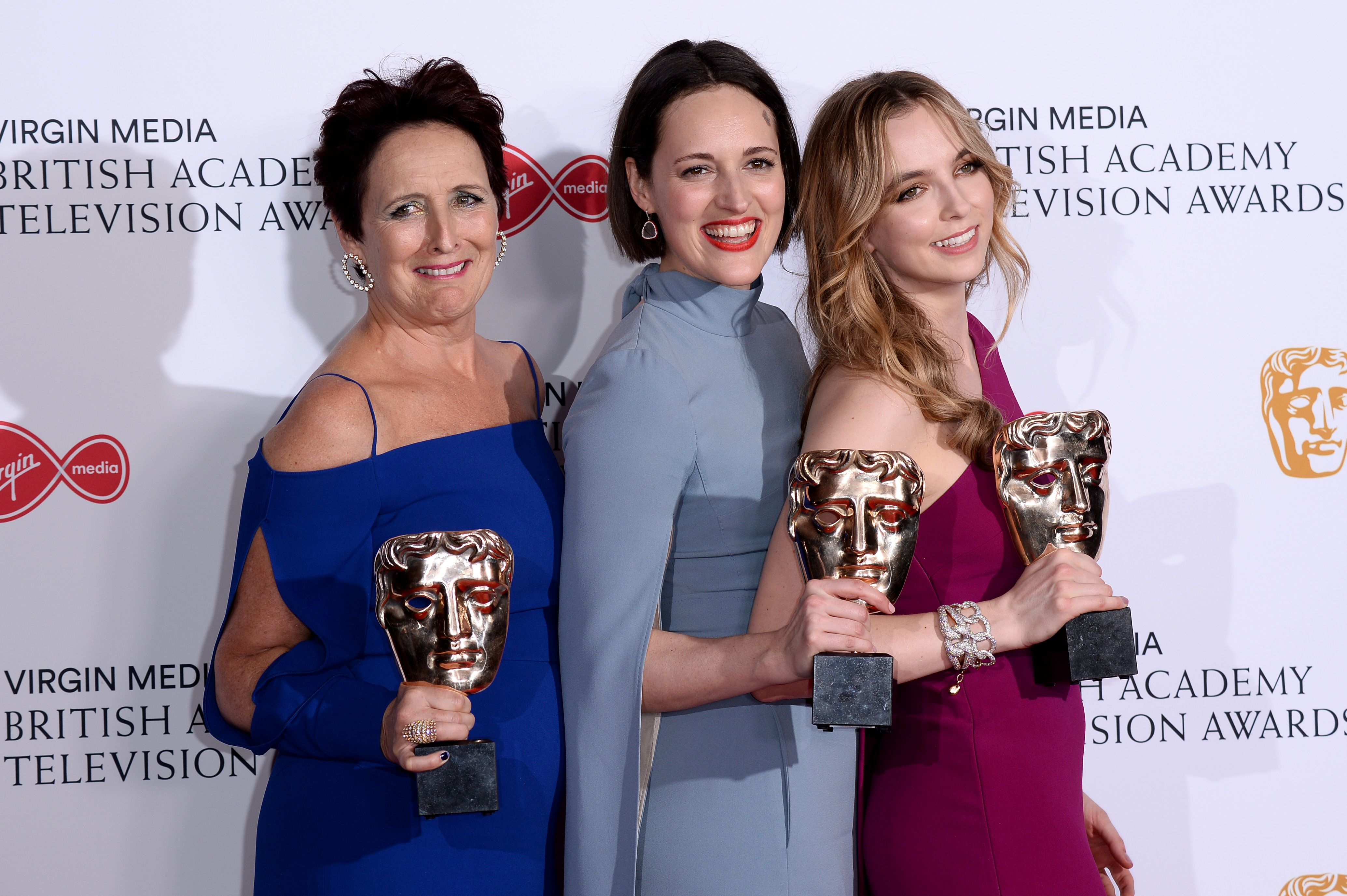 Killing Eve team Fiona Shaw, Phoebe Waller-Bridge and Jodie Comer at the Virgin Media British Academy Television Awards in 2019