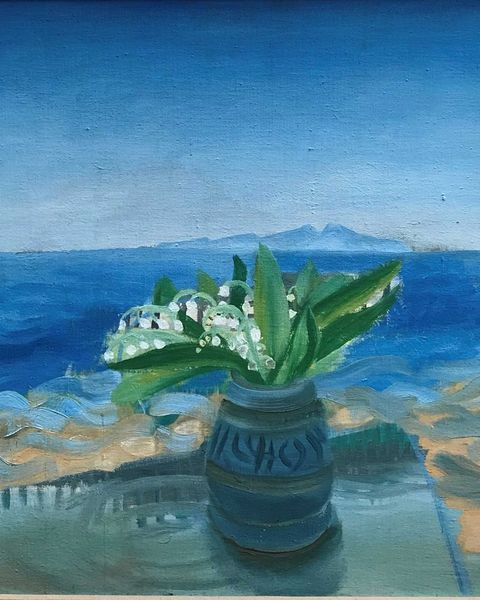 Blue, Painting, Flower, Watercolor paint, Flowerpot, Still life, Plant, Still life photography, Visual arts, Acrylic paint,