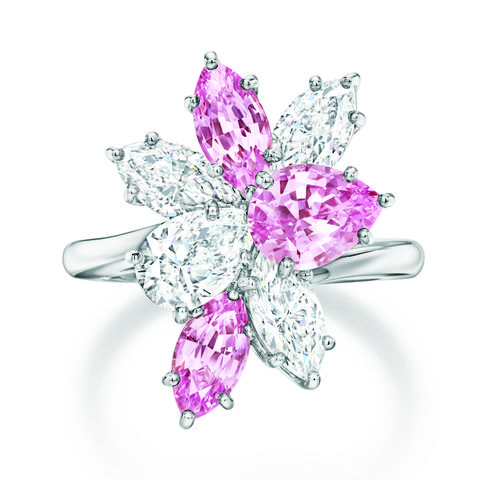 harry winston pink and white diamond cluster ring
