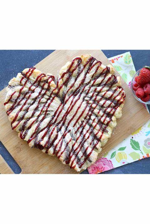 raspberry nutella puff pasty heart