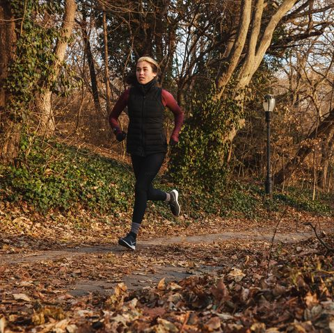 People in nature, Running, Autumn, Leaf, Tree, Jogging, Natural landscape, Trail, Woodland, Recreation,