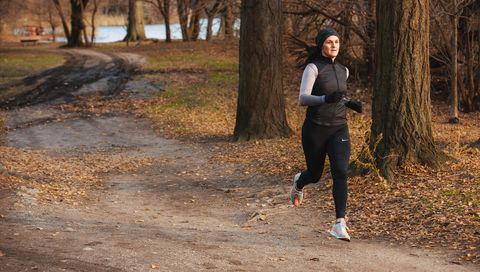 Running, Jogging, Tree, Recreation, Exercise, Trail, Woodland, Autumn, Winter, Forest,