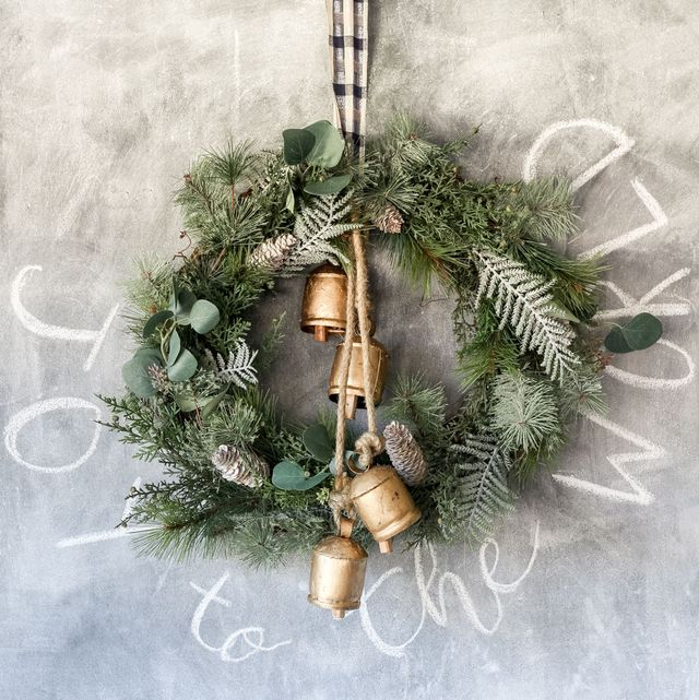 christmas wreath with brass bells