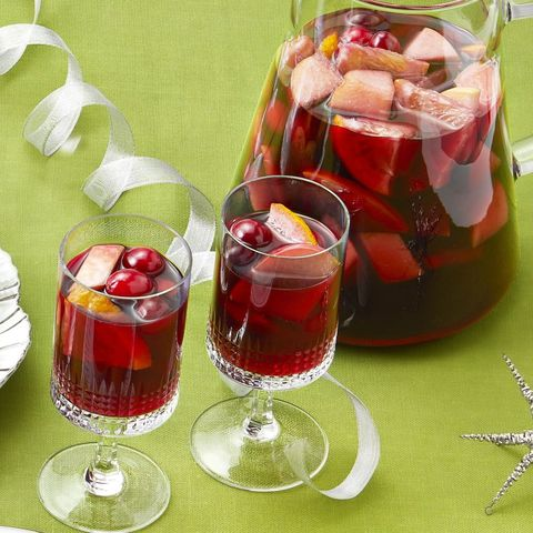 winter sangria on green background with ribbon