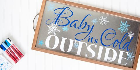 winter crafts baby it's cold outside serving tray