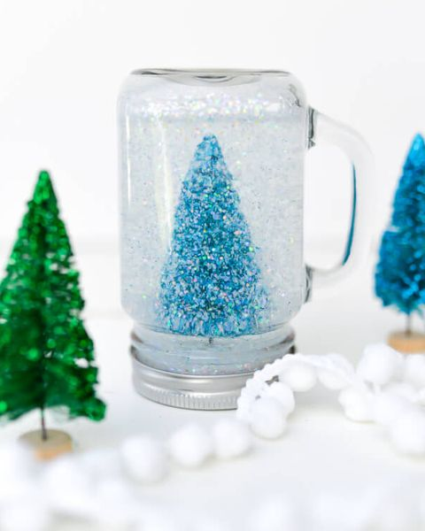 winter crafts mason jar snow globe
