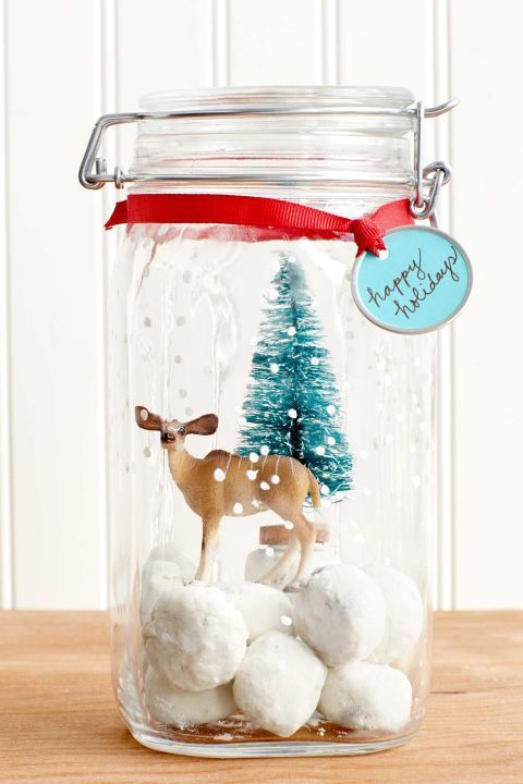 winter crafts snow globe jar