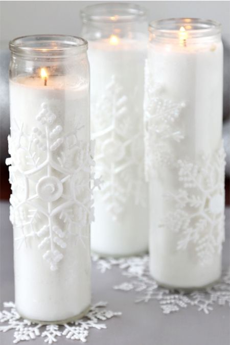winter crafts snowflake candles