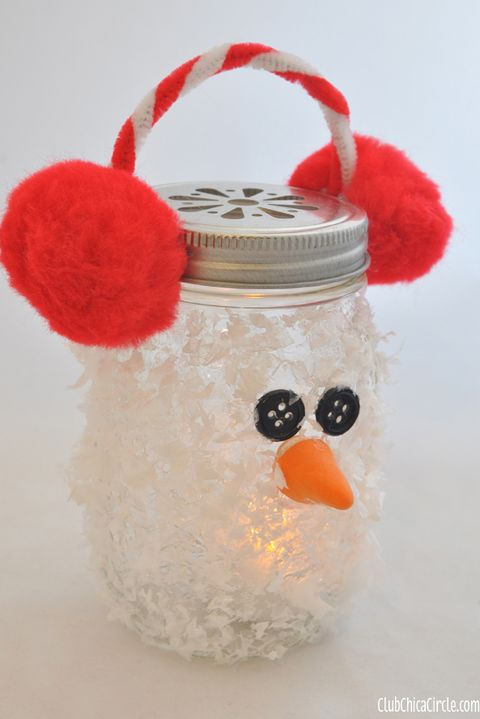 winter crafts snow man mason jar