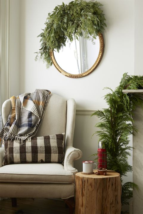 corner nook with holiday greens