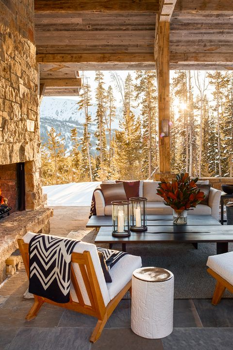 outdoor space decorated for winter