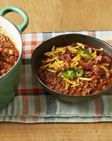 beef and bean chili with shredded cheese and jalapenos