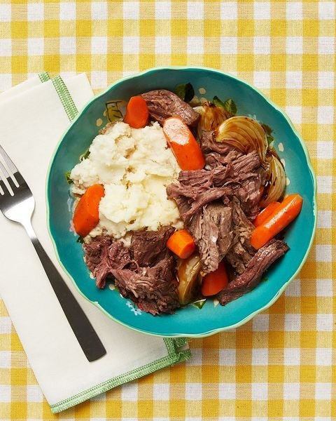 perfect pot roast with mashed potatoes in blue bowl