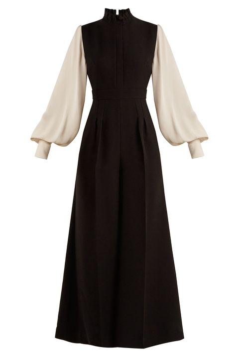 Sleeve, Textile, White, Formal wear, Dress, One-piece garment, Fashion, Pattern, Black, Maroon,