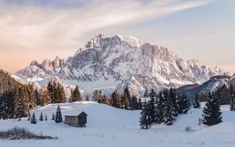 Winter view of Val Badia, Dolomites, Italy
