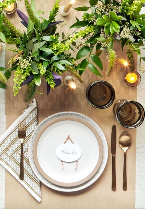 rose gold wishbone thanksgiving place cards
