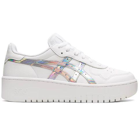 witte sneakers van asics met metallic detail